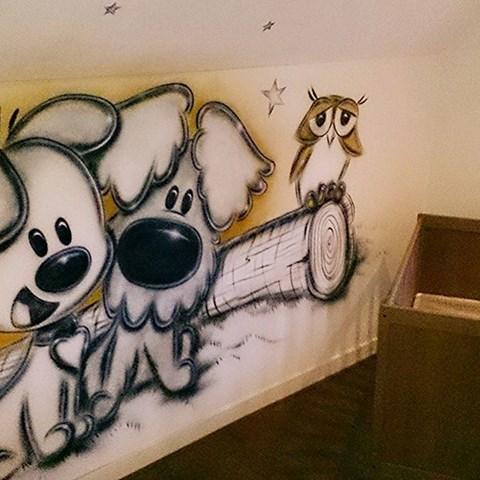 Muurschildering woezel en pip arwt - Grijs muurschildering ...